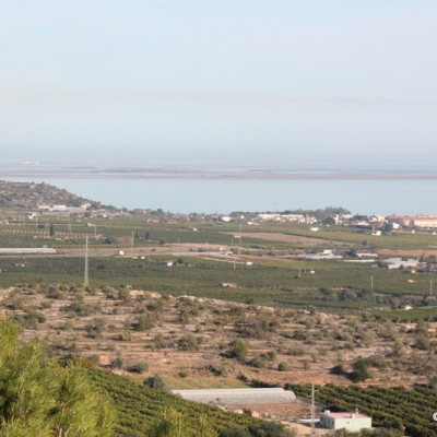 view over Delta de l'Ebre on Alcanar road to hermitage