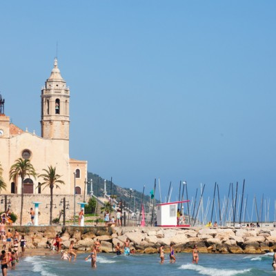 Sitges Beach & Church In Background