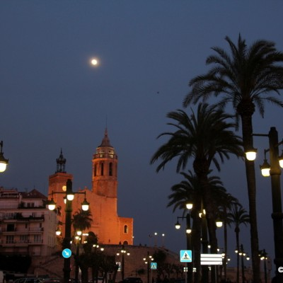 Sitges Church and Promenade by Night