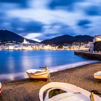 Cadaques Costa Brava Fishing Boats and View At Night