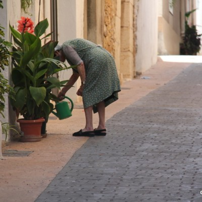 Traiguera lady watering plants