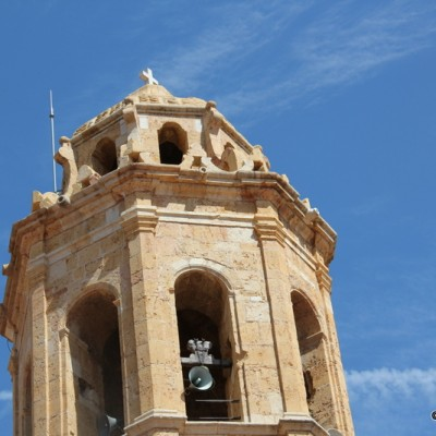 Traiguera parish church closeup of bell tower