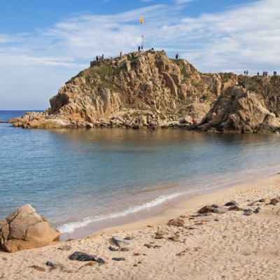 Beach of Blanes and the islet Sa Palomera