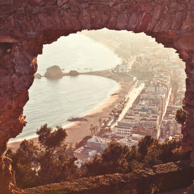 Blanes from the Castle Sunset View In Vintage Hues