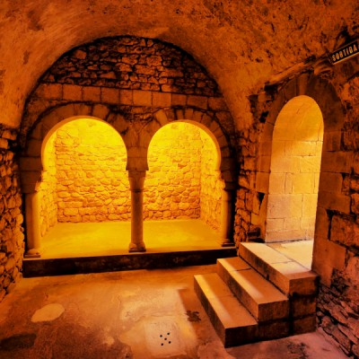 Girona Arab Baths - the romanesque building Catalonia, Spain.