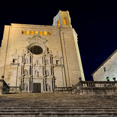 Girona Cathedral Catalonia At Night