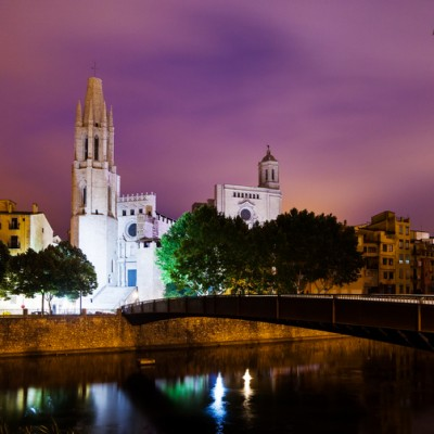 Girona Collegiate Church of Sant Feliu and Cathedral by night