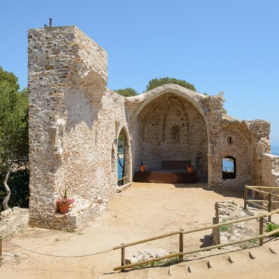 Tossa de Mar Ancient ruined church in fortress Villa Vella enceinte of Old Town