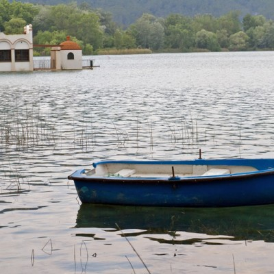 Banyoles Lake Boat And Scenery