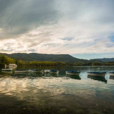 Banyoles Lake Catalonia Boats In Evening Light