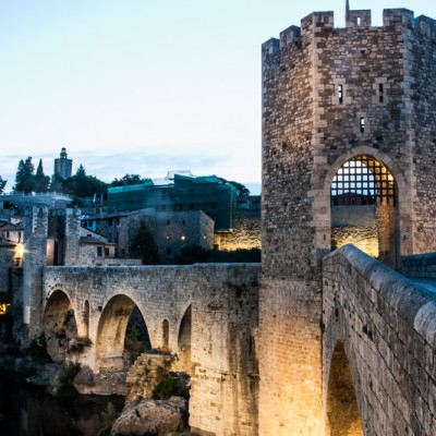 Besalu medieval village nighttime view