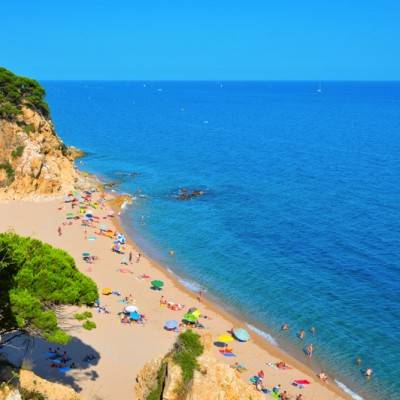 La Roca Grossa Beach on August 17, 2011 in Calella, Spain. The Catalan coast, where is Calella ed3