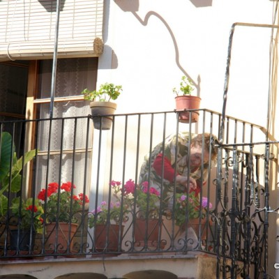 Sant Mateu Lady Watering Flowers