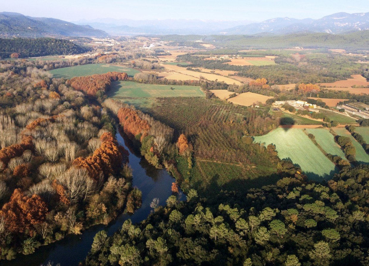 Garrotxa Natural Park Aerial View From Balloon Flight