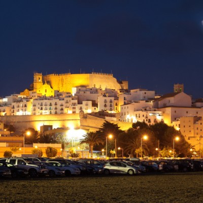 Peniscola Spain Stunning Moon Over Castle