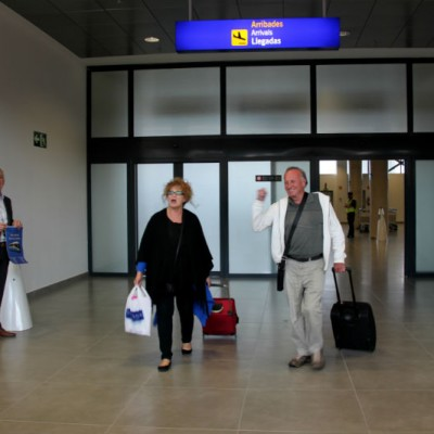 Ryanair first flight to Castellon airport-1st couple to walk out into airport-1
