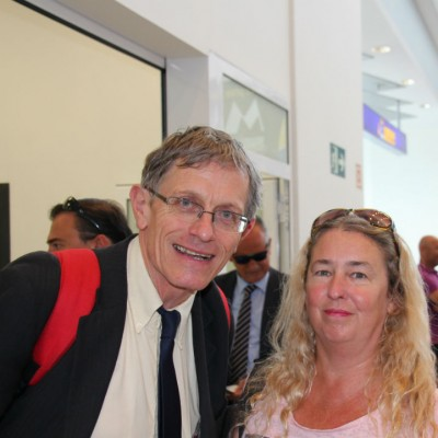 Simon Calder with Jackie de Burca Castellon Airport first Ryanair flight from London Stansted-small