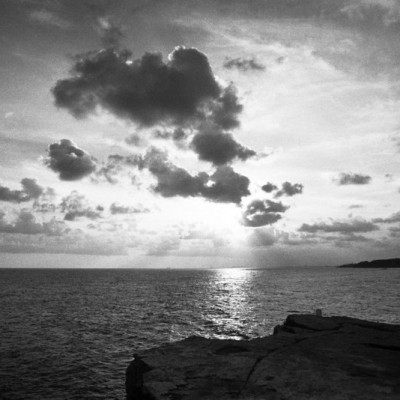 Torredembarra evening by sea B+W