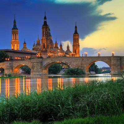 Zaragoza Basica de Pilar at sunset beautiful