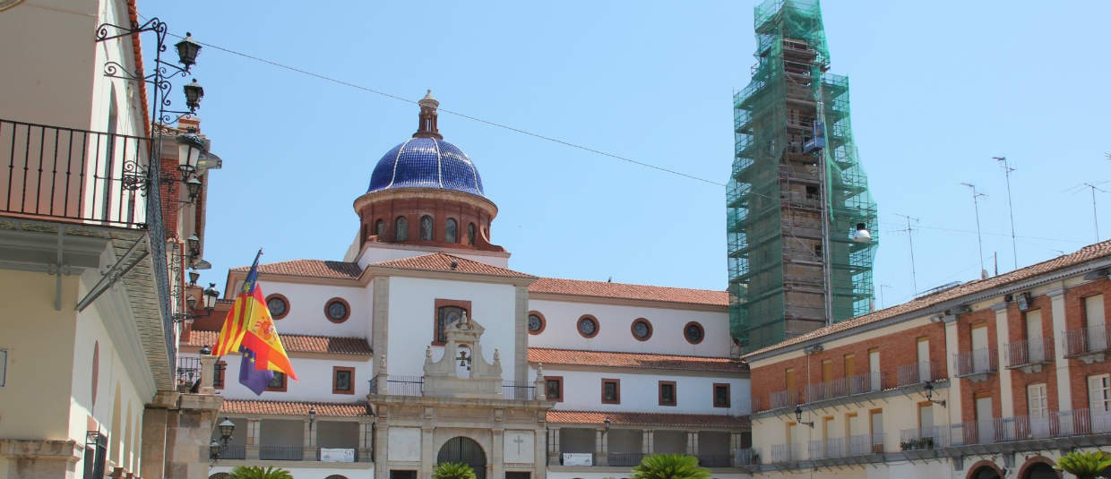 Nules Spain church belltower and town hall