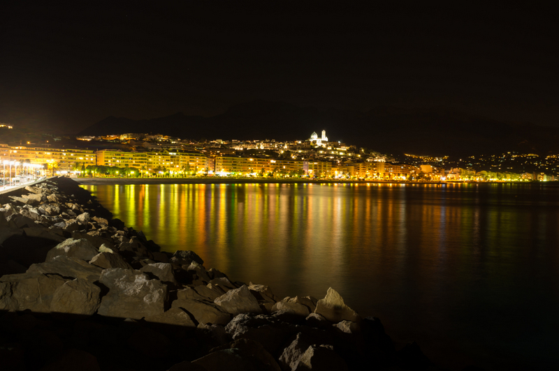 Altea Bay By Night With Reflections of Lights From the Old Town