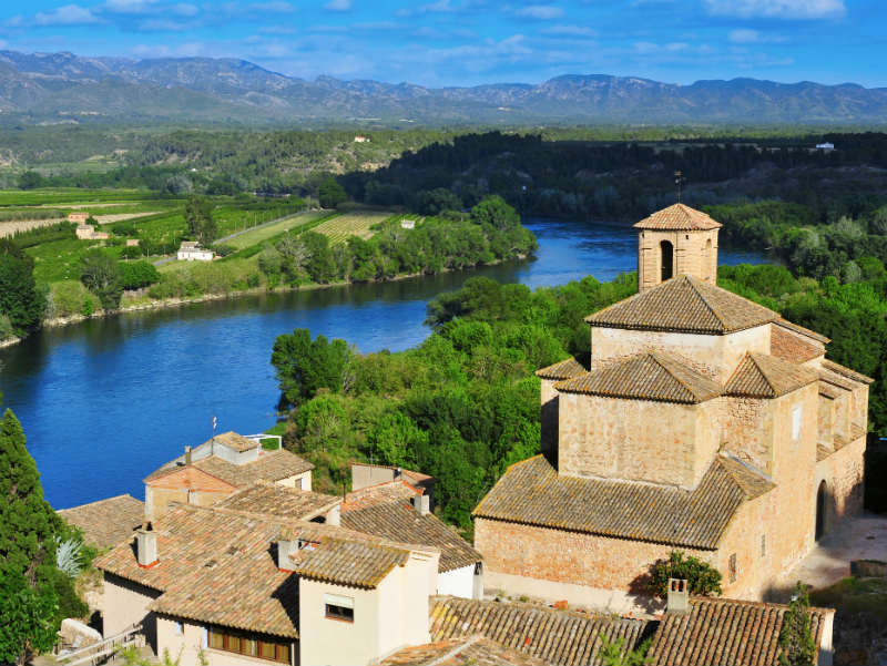 Miravet town Spain and River Ebro