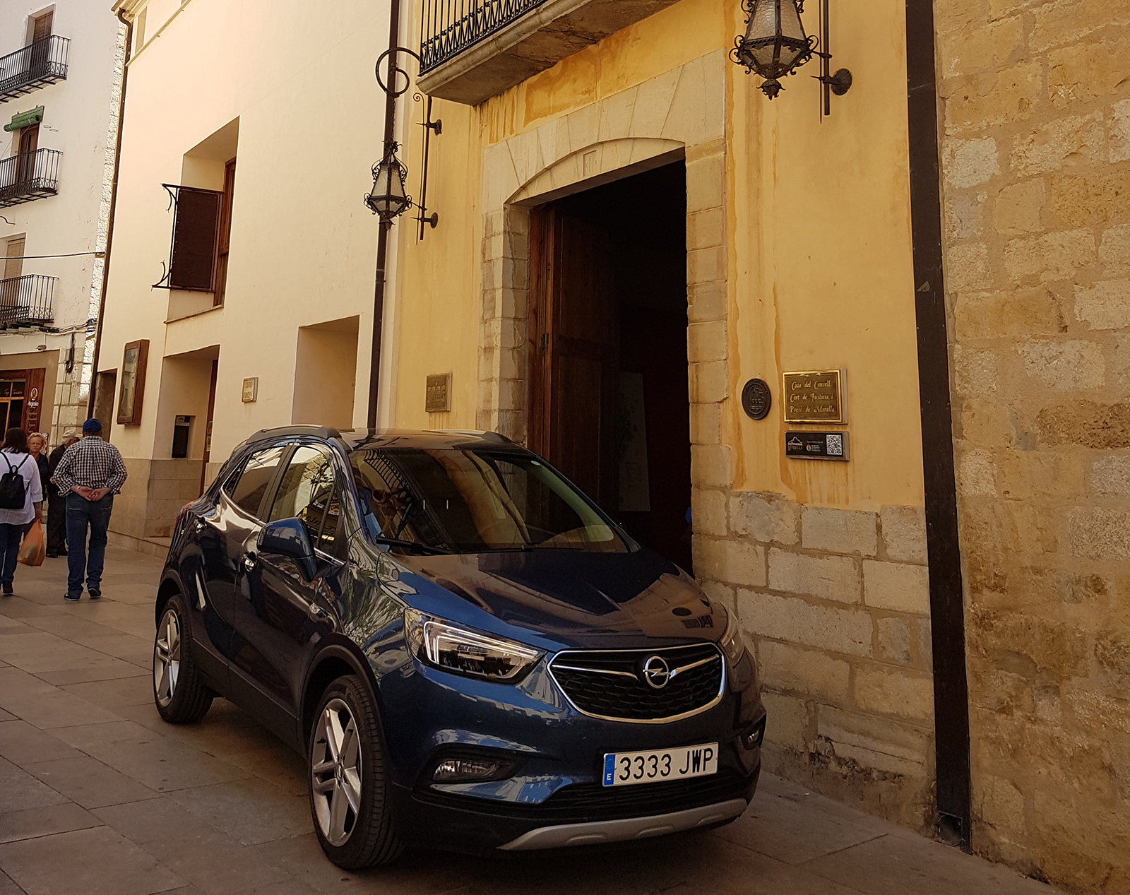 Morella Spain police escort Hertz car outside town hall