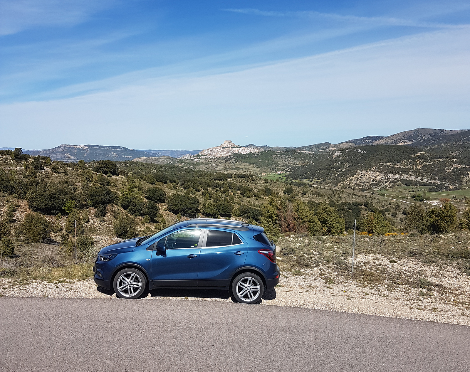morella spain with car and view in background