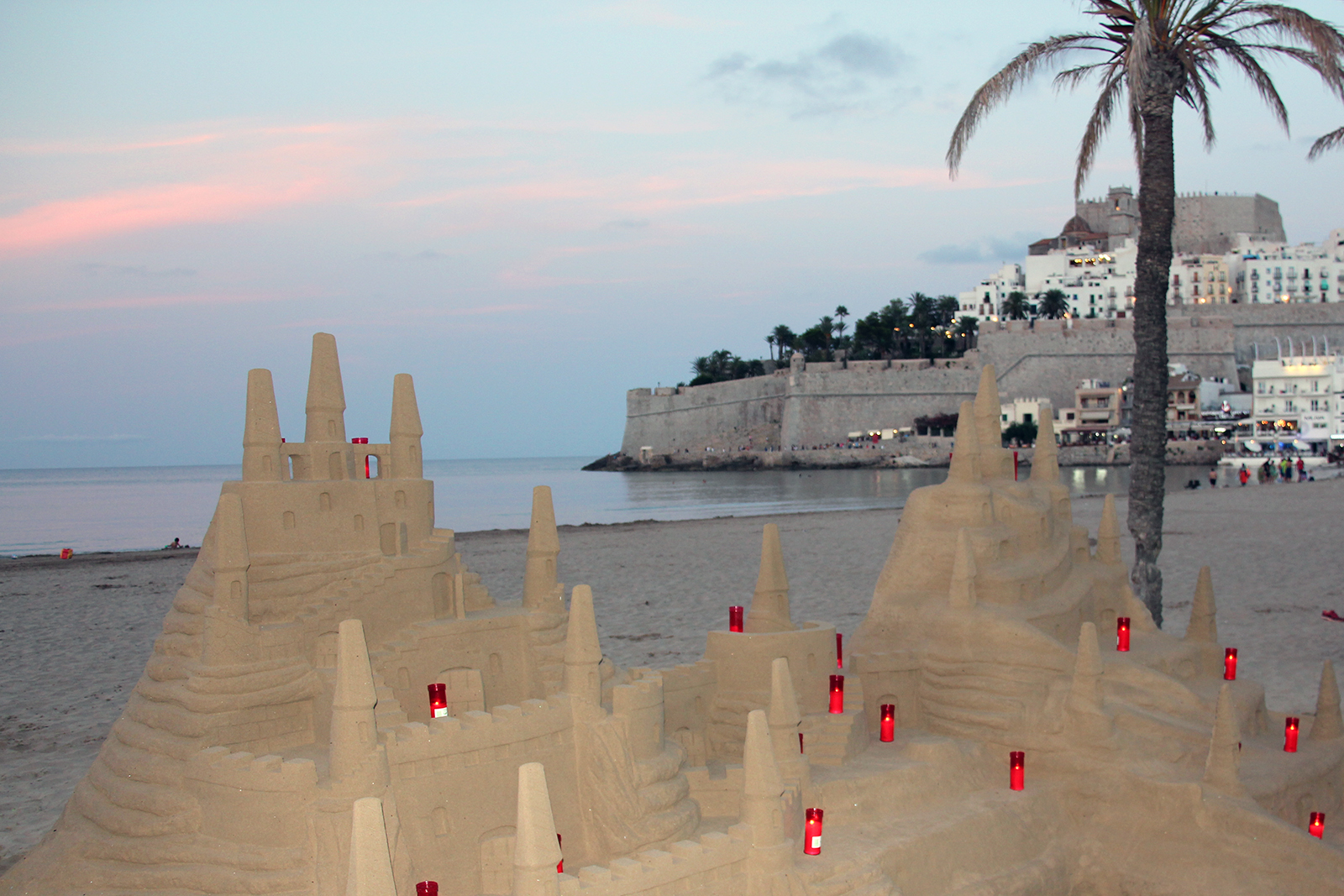 Peniscola Sand Castle and Real Castle At Dusk